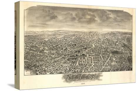 Newton, Massachusetts - Panoramic Map-Lantern Press-Stretched Canvas Print