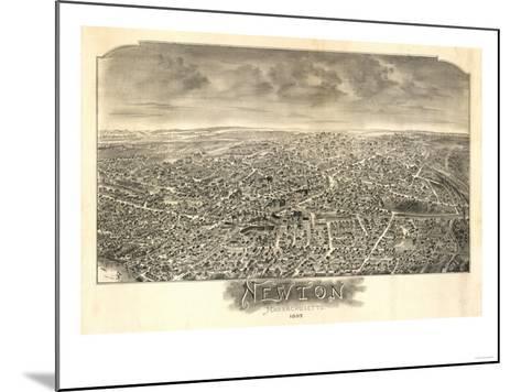 Newton, Massachusetts - Panoramic Map-Lantern Press-Mounted Art Print