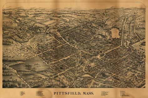 Pittsfield, Massachusetts - Panoramic Map-Lantern Press-Stretched Canvas Print