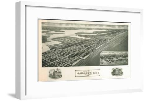 Margate, New Jersey - Panoramic Map-Lantern Press-Framed Art Print