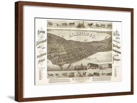 Madison, Wisconsin - Panoramic Map No. 1-Lantern Press-Framed Art Print