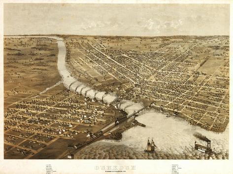 Oshkosh, Wisconsin - Panoramic Map-Lantern Press-Stretched Canvas Print