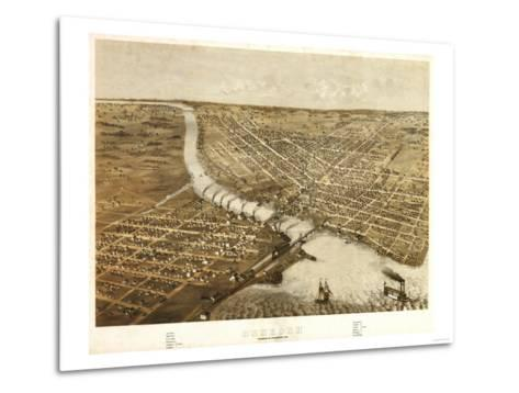 Oshkosh, Wisconsin - Panoramic Map-Lantern Press-Metal Print