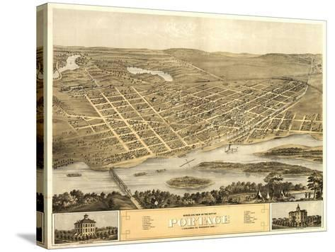 Portage, Wisconsin - Panoramic Map-Lantern Press-Stretched Canvas Print