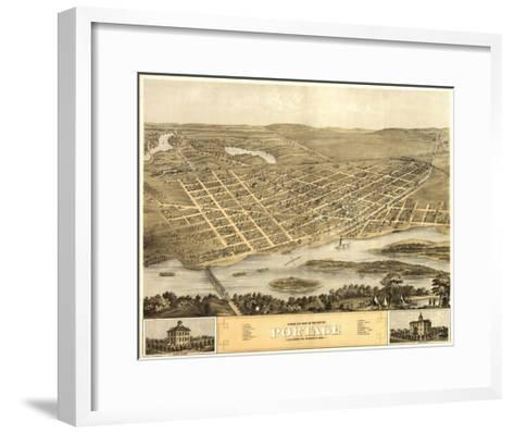 Portage, Wisconsin - Panoramic Map-Lantern Press-Framed Art Print