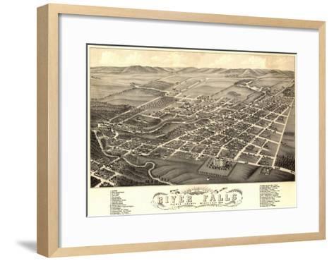 River Falls, Wisconsin - Panoramic Map-Lantern Press-Framed Art Print