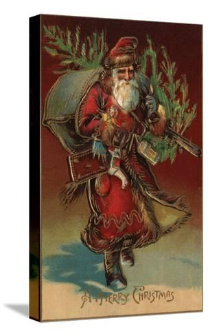 Christmas Greeting - Santa with Gifts No. 2-Lantern Press-Stretched Canvas Print