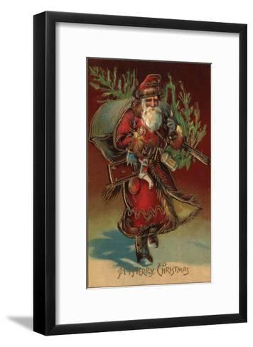 Christmas Greeting - Santa with Gifts No. 2-Lantern Press-Framed Art Print