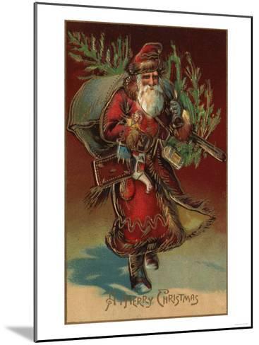 Christmas Greeting - Santa with Gifts No. 2-Lantern Press-Mounted Art Print