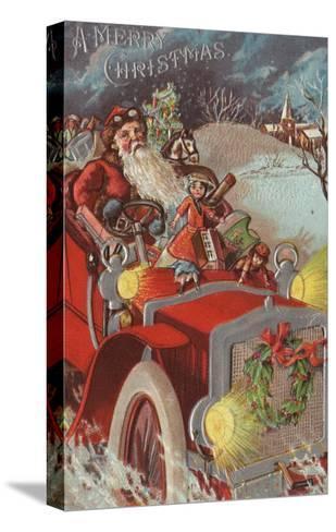 Christmas Greeting - Santa in Car-Lantern Press-Stretched Canvas Print