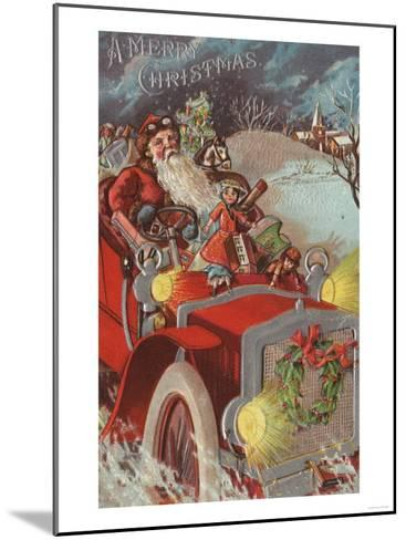 Christmas Greeting - Santa in Car-Lantern Press-Mounted Art Print