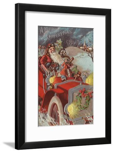 Christmas Greeting - Santa in Car-Lantern Press-Framed Art Print