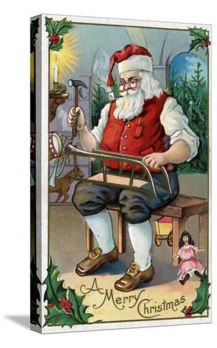 Christmas Greeting - Santa Building Sled-Lantern Press-Stretched Canvas Print