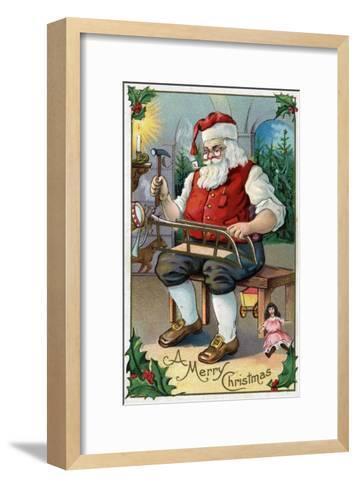 Christmas Greeting - Santa Building Sled-Lantern Press-Framed Art Print