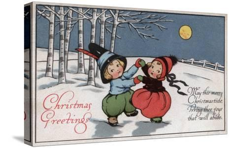 Christmas Greetings - Couple Dancing in Moonlight-Lantern Press-Stretched Canvas Print