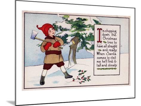 Christmas - Boy Chopping Down Christmas Tree-Lantern Press-Mounted Art Print