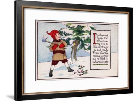 Christmas - Boy Chopping Down Christmas Tree-Lantern Press-Framed Art Print