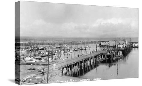 Westport, Washington - Aerial View of Harbor and Fishing Fleet-Lantern Press-Stretched Canvas Print