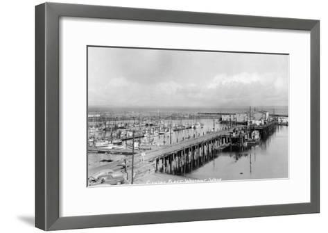 Westport, Washington - Aerial View of Harbor and Fishing Fleet-Lantern Press-Framed Art Print