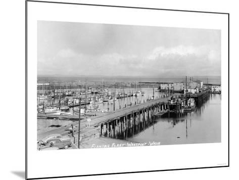Westport, Washington - Aerial View of Harbor and Fishing Fleet-Lantern Press-Mounted Art Print