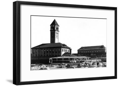 Spokane, Washington - Exterior View of Great Northern and Union Depots-Lantern Press-Framed Art Print