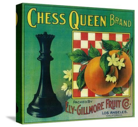 Chess Queen Orange Label - Los Angeles, CA-Lantern Press-Stretched Canvas Print