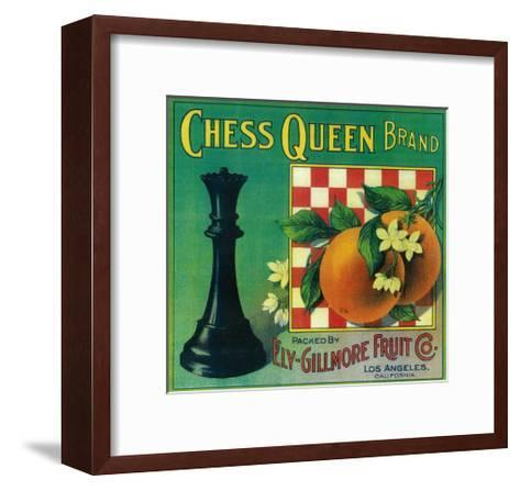 Chess Queen Orange Label - Los Angeles, CA-Lantern Press-Framed Art Print