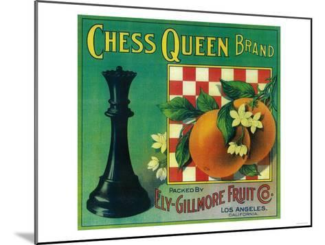 Chess Queen Orange Label - Los Angeles, CA-Lantern Press-Mounted Art Print