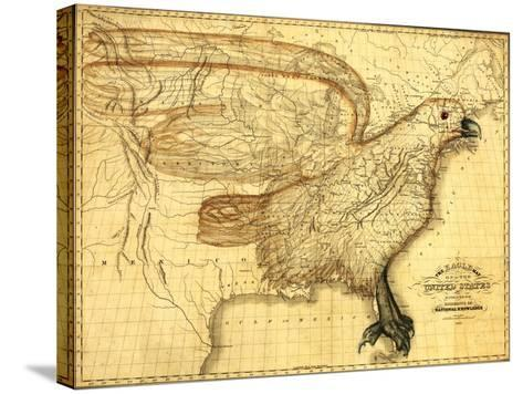 Eagle Superimposed on the United States - Panoramic Map-Lantern Press-Stretched Canvas Print