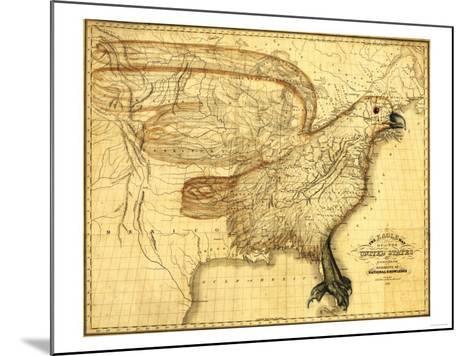 Eagle Superimposed on the United States - Panoramic Map-Lantern Press-Mounted Art Print