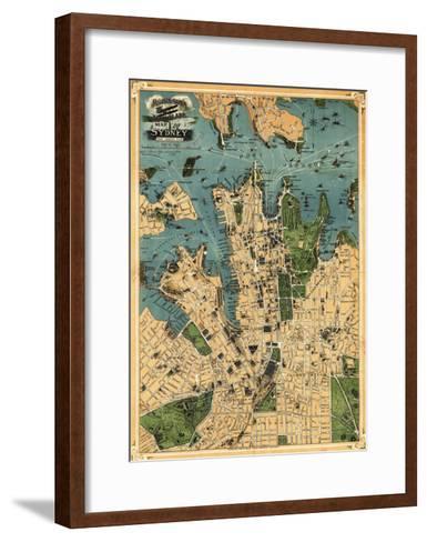 Sydney, Australia - Panoramic Map-Lantern Press-Framed Art Print