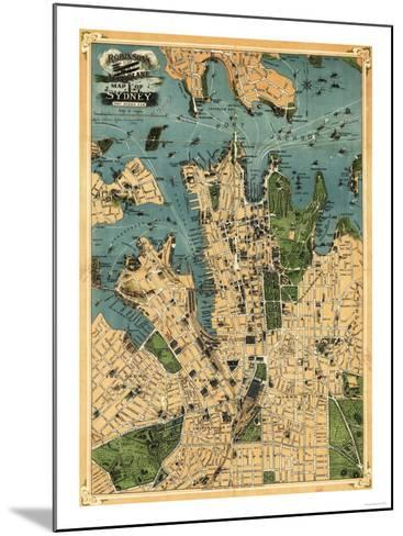 Sydney, Australia - Panoramic Map-Lantern Press-Mounted Art Print