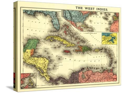 West Indies - Panoramic Map-Lantern Press-Stretched Canvas Print