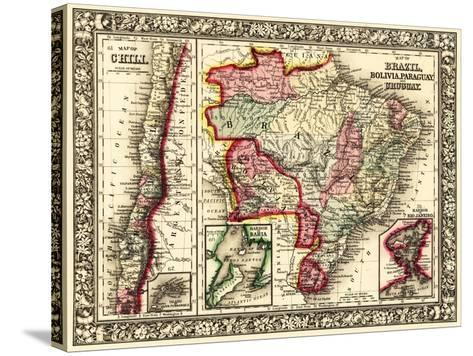South America - Panoramic Map-Lantern Press-Stretched Canvas Print