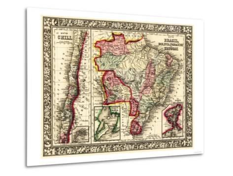 South America - Panoramic Map-Lantern Press-Metal Print