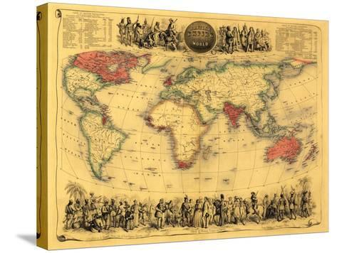 World Map Showing British Empire - Panoramic Map-Lantern Press-Stretched Canvas Print