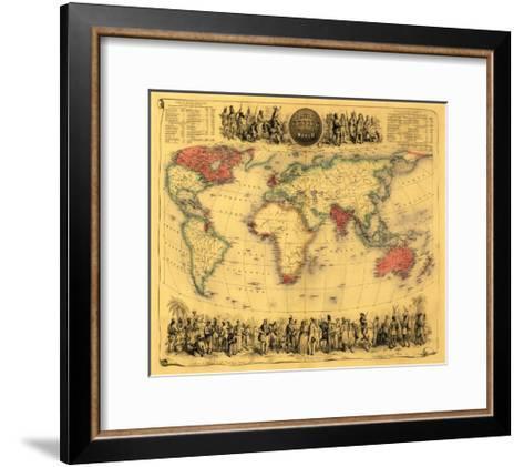 World Map Showing British Empire - Panoramic Map-Lantern Press-Framed Art Print