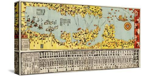 Coast Defense of Tokyo Bay of Japan - Panoramic Map-Lantern Press-Stretched Canvas Print