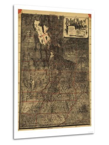 Utah - Panoramic Map-Lantern Press-Metal Print