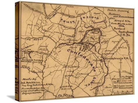 Battle of the Wilderness - Civil War Panoramic Map-Lantern Press-Stretched Canvas Print