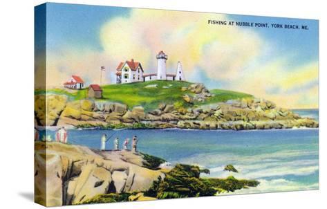 York, Maine - Fishing Scene at Nubble Point on York Beach-Lantern Press-Stretched Canvas Print
