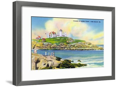 York, Maine - Fishing Scene at Nubble Point on York Beach-Lantern Press-Framed Art Print