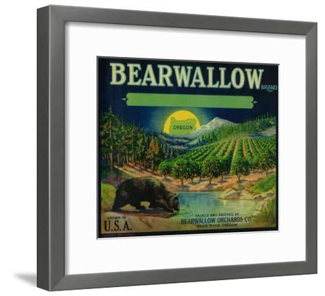 Bearwallow Apple Crate Label - Hood River, OR-Lantern Press-Framed Art Print