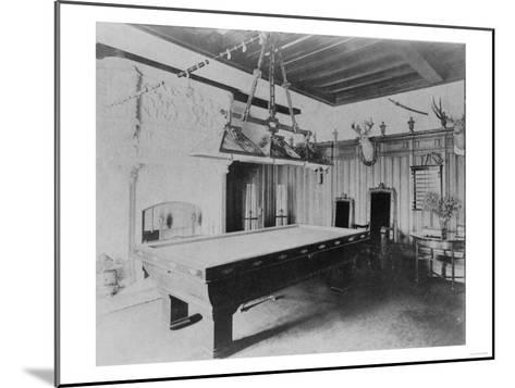 Billiards Room with Deer and Elk Head Photograph-Lantern Press-Mounted Art Print