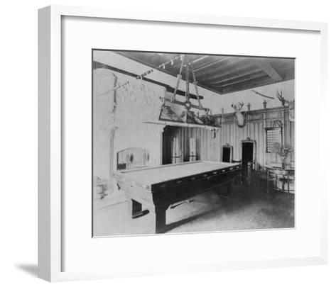 Billiards Room with Deer and Elk Head Photograph-Lantern Press-Framed Art Print