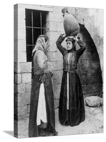 Christian Girls with Water Jug in Nazareth Photograph - Nazareth, Palestine-Lantern Press-Stretched Canvas Print