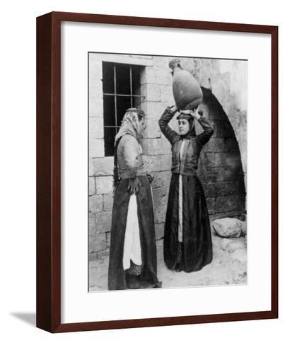 Christian Girls with Water Jug in Nazareth Photograph - Nazareth, Palestine-Lantern Press-Framed Art Print