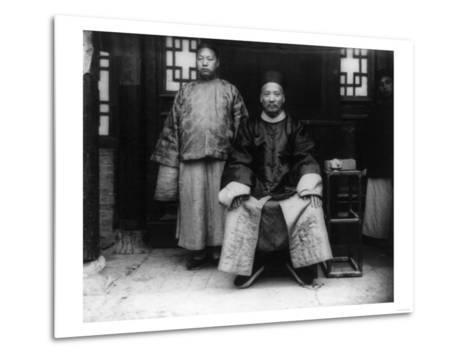 City Magistrate and Son in China Photograph - Chao, China-Lantern Press-Metal Print