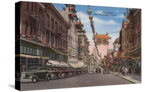 San Francisco, CA - View of Chinatown Main Street-Lantern Press-Stretched Canvas Print