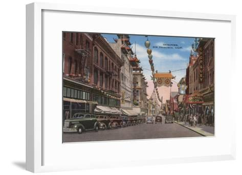 San Francisco, CA - View of Chinatown Main Street-Lantern Press-Framed Art Print